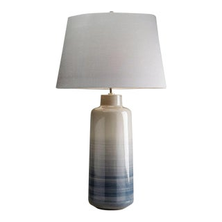 Bacari Large Gray & Blue Ceramic Table Lamp For Sale