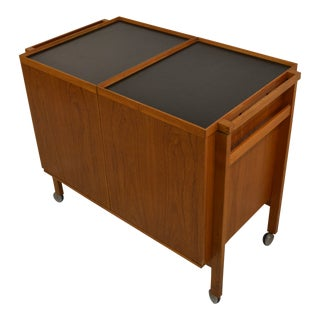 1960s Vintage Niels Erik Glasdam Jensen Teak Rolling Bar Cart For Sale