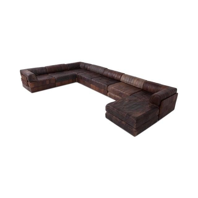 De Sede De Sede Ds88 Modular Brown-Cognac Leather Patchwork Sofa For Sale - Image 4 of 8