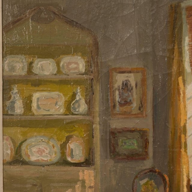 Framed Oil Painting of an Interior For Sale - Image 4 of 11