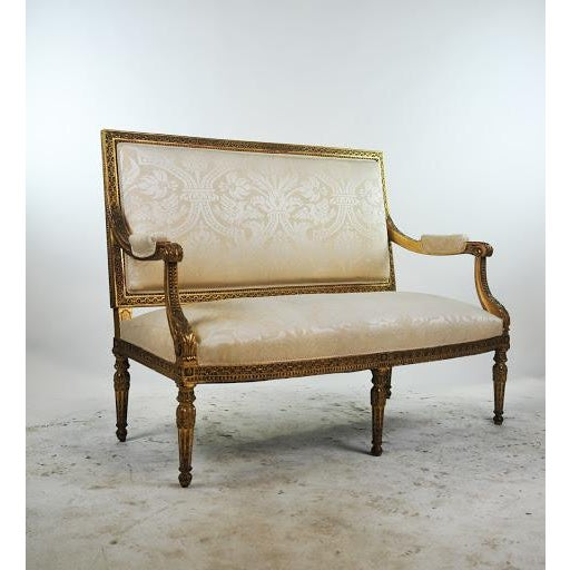 This beautiful, true antique Louis XVI style gilded settee is sure to impress as a new addition to your entryway or living...