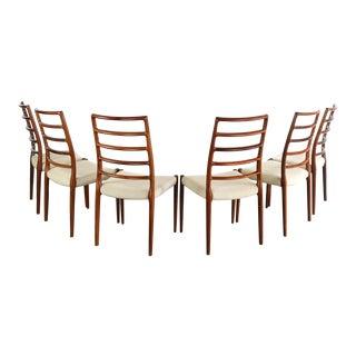 Niels Møller No. 82 Side Chairs in Brazilian Rosewood j.l. Møllers Møbelfabrik, Denmark - a Set of 6 For Sale