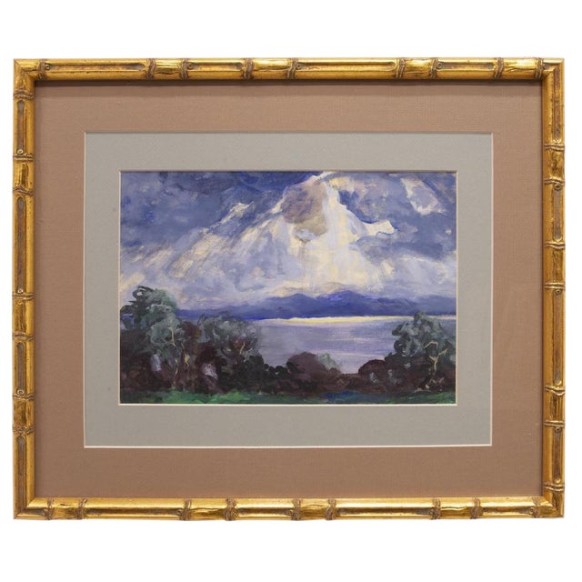 1900s Expressionist Cloudy Sunrise Watercolor by Frank Herrmann in Gold Faux Bamboo Frame For Sale