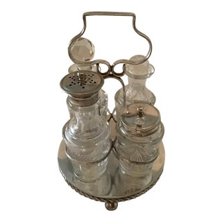 Antique Victorian Epns Hallmarked Cruet Service Set - 5 Pieces For Sale