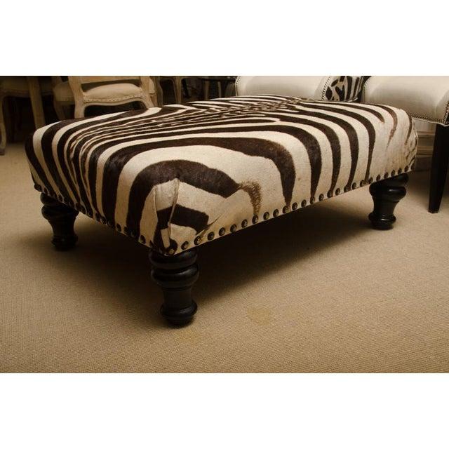Modern Zebra Skin Ottoman For Sale - Image 3 of 6