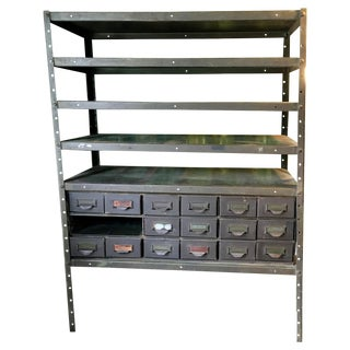 Industrial Utility Storage Vintage Shelving For Sale