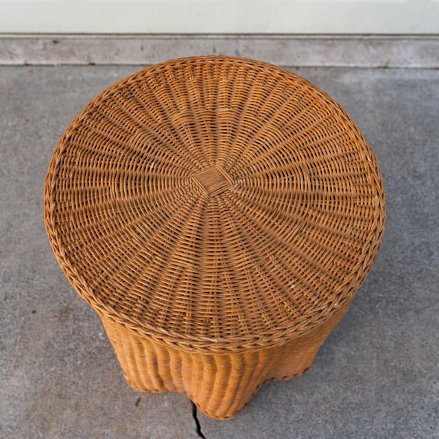 Glass 1970s Boho Chic Trompe l'Oeil Rattan Draped Wicker Ghost Entryway Table For Sale - Image 7 of 9