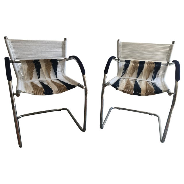 Upcycled Chrome Macrame Chairs - Pair - Image 1 of 6