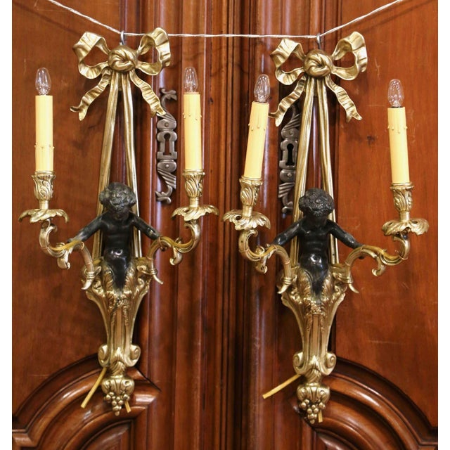 Mid-19th Century French Louis XVI Bronze Dore Wall Sconces With Cherubs - a Pair For Sale - Image 13 of 13