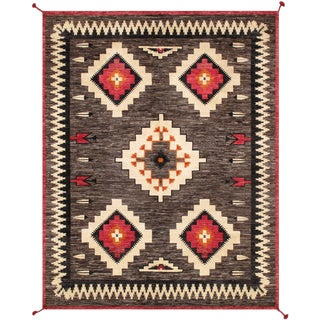 """Pasargad Home Navajo-Style Wool Area Rug- 8' 0"""" X 10' 0"""" For Sale"""