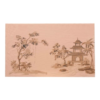 Chinoiserie Painting of Pavilion and Landscape on Peach Atmosphere For Sale