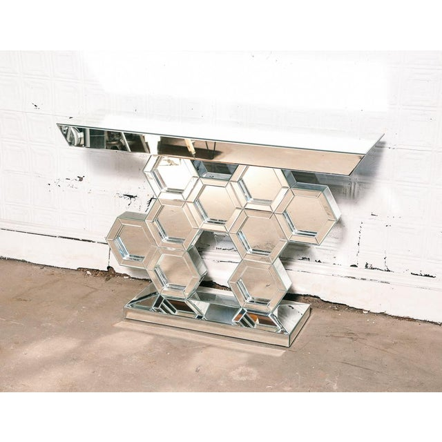 Glass Vintage Mirrored Console Table For Sale - Image 7 of 7