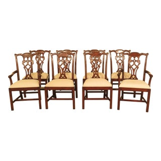 21st Century Jonathan Charles Chippendale Mahogany Dining Room Chairs- Set of 8 For Sale