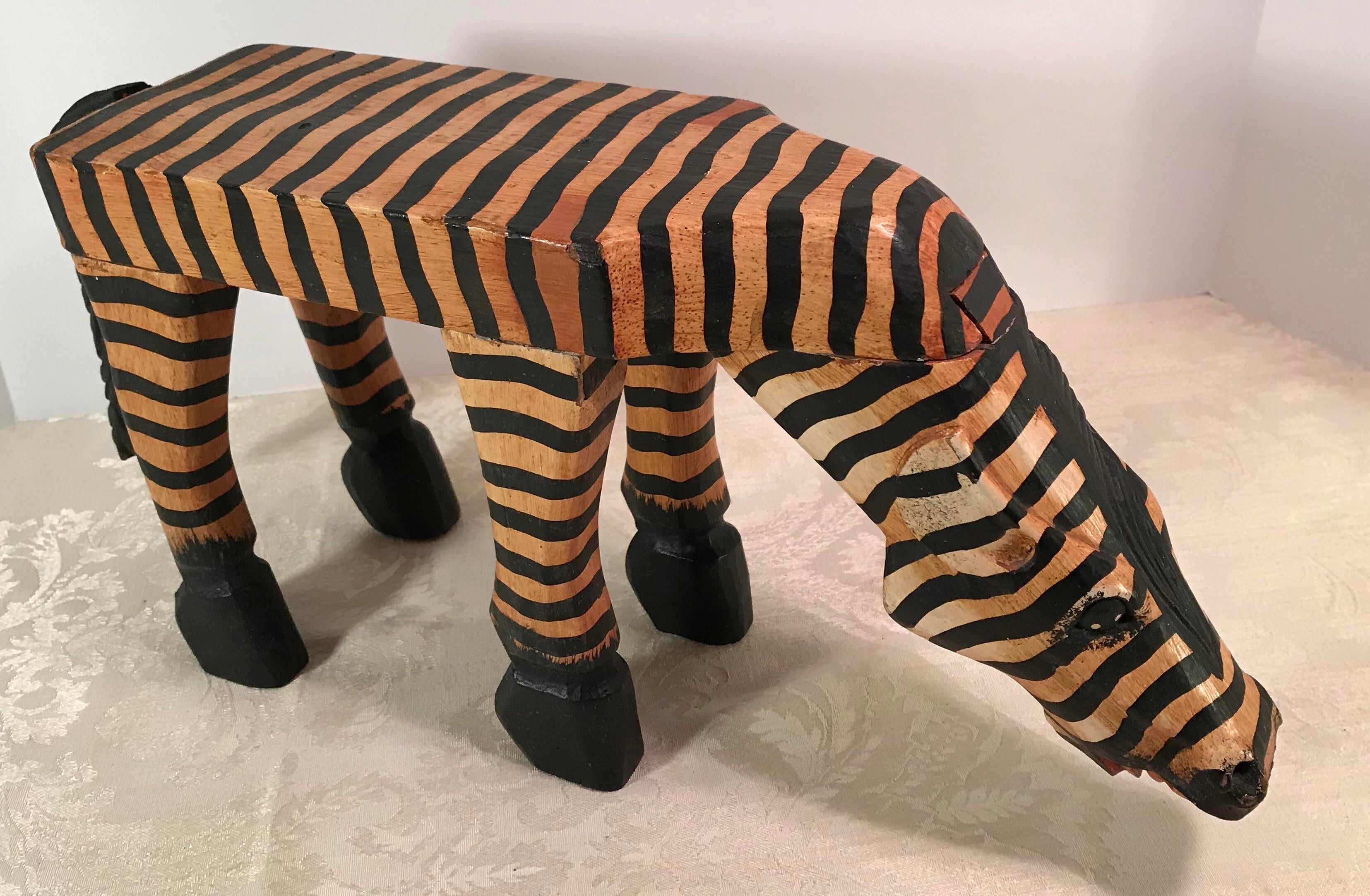 Vintage Carved Wooden Painted Zebra Table Stand   Image 11 Of 11
