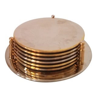 Vintage Silver Plated Coasters With Caddy - Set of 6 For Sale