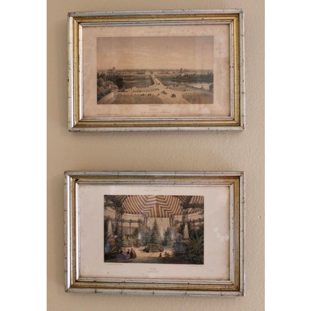 French Country Prints in Silver and Gold Bamboo Style Wooden Frames - a Pair For Sale In Tulsa - Image 6 of 10