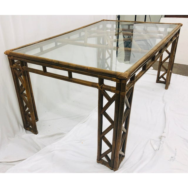 Mid 20th Century Vintage Chinese Chippendale Rattan & Glass Top Table For Sale - Image 5 of 10