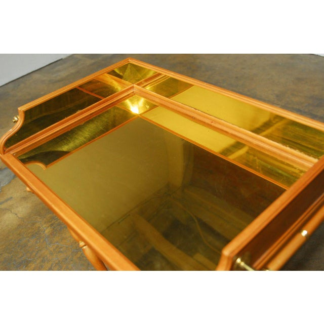 Hollywood Regency Vintage Italian Pine & Brass Butler's Tray Table For Sale - Image 3 of 8