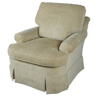 Late 20th Century Vintage Baker Furniture Beige Upholstered Overstuffed Arm Easy Chair For Sale