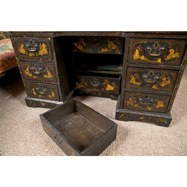 Black 19th-C. Chinoiserie Knee Hole Desk For Sale - Image 8 of 9