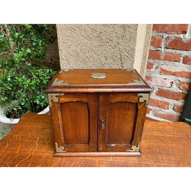 Antique English Tiger Oak Pipe Smoke Cabinet Card Game Box Humidor Lift Top For Sale - Image 13 of 13