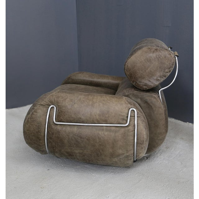Vintage Armchairs in 70's Leather and Steel. For Sale - Image 4 of 7