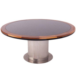 Granite and Steel Yacht Style Dining Table For Sale