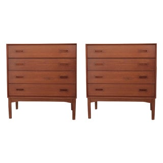 Danish Teak 4 Drawer Chest of Drawers - Pair