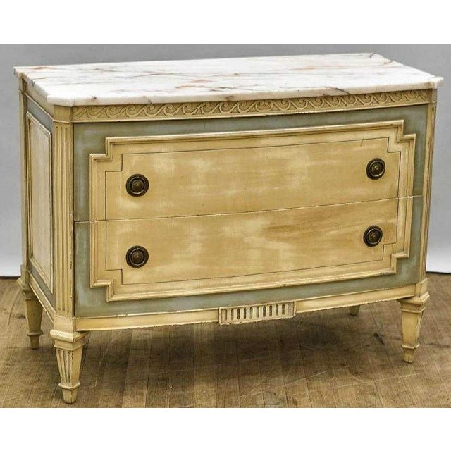 Vintage Designer Paint Decorated Marble Top Commode Chairish