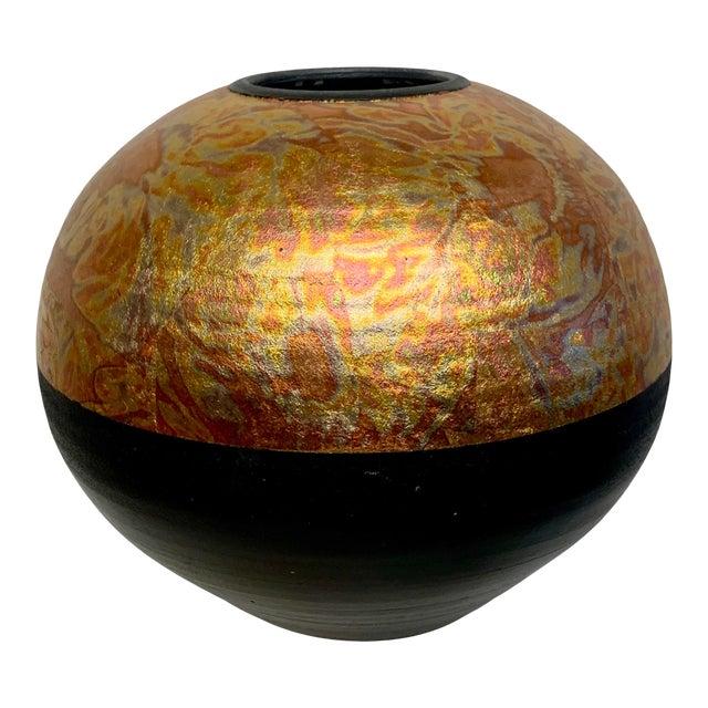 1980s Southwestern Ceramic Raku Vase by Michael Weinberg For Sale