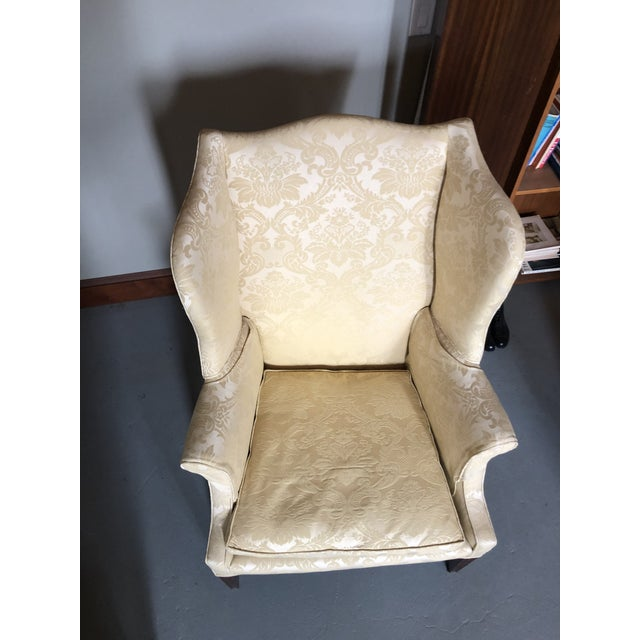 Yellow American Federal Style Yellow Jacquard Wingback Chair With Down Cushion For Sale - Image 8 of 13