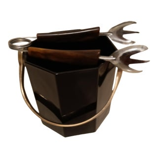 Vintage 1970s French Mid-Century Modern Ice Bucket with Tongs For Sale