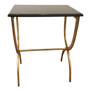 Cyan Design Modern Black Marble and Antique Gold Hourglass Side Table For Sale