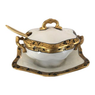 Gold and White Sugar Bowl For Sale