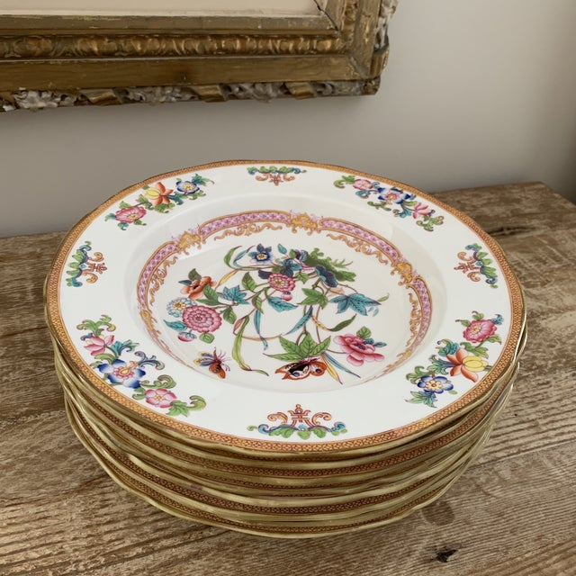 Antique English Minton Chinoiserie Shallow Dinner Bowls- Set of 8 For Sale - Image 11 of 11
