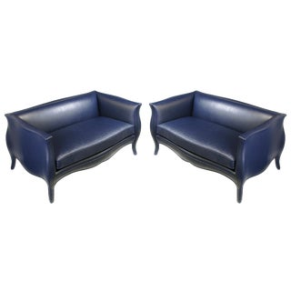 Pair of Richard Himmel Lutece Settees in Blue Edelman Reptile Patterned Calfskin