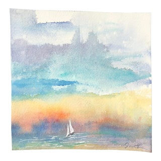 """Final Price! Nancy Smith """"If the Wind Is Right"""" Original Seascape Watercolor Painting For Sale"""