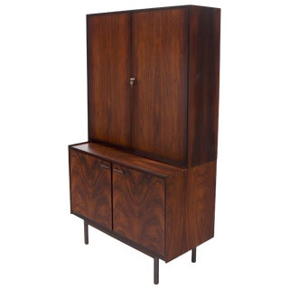 Danish Mid-Century Modern Two Part Rosewood Storage Cabinet Credenza For Sale