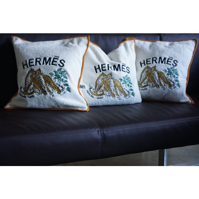 Fabric Hermes Cushion Covers - Set of 3 For Sale - Image 7 of 7