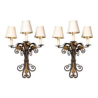 1930s French Wrought Iron and Parcel Gilt Sconces - a Pair For Sale