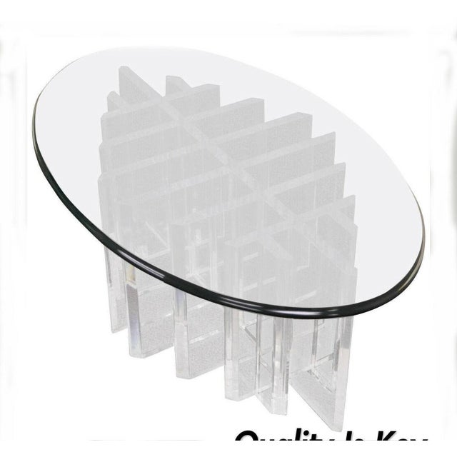 1960s Mid Century Modern Sculptural Lucite Grid Oval Coffee Table For Sale - Image 11 of 11
