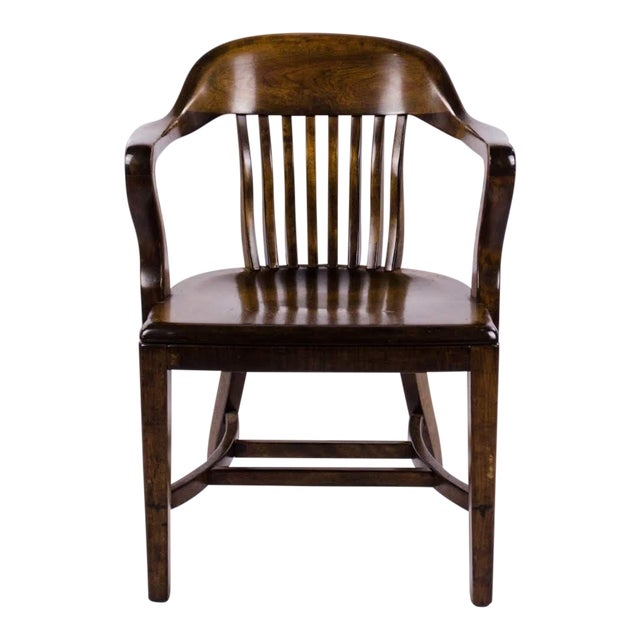 Vintage Mid-Century B. L. Marble Chair Company Walnut Bank of England Style Chair For Sale