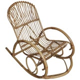 Image of Vintage Franco Albini Style Bentwood Bamboo Rocking Chair For Sale
