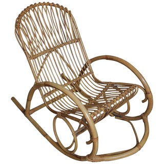 Vintage Franco Albini Style Bentwood Bamboo Rocking Chair For Sale