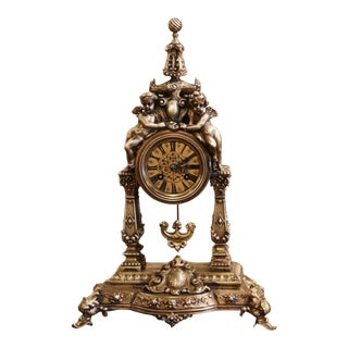 19th Century French Louis XV Rococo Gilt Bronze Mantel Clock With Cherubs For Sale