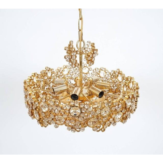 Gold Pair Palwa Crystal Glass Gold Plated Brass Chandeliers Refurbished Lamps, 1960 For Sale - Image 8 of 10