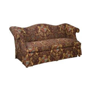 Custom Upholstered Camel Back Lions Crest Sofa For Sale