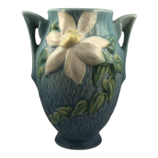 Antique Roseville Clematis Pattern Pottery Vase For Sale