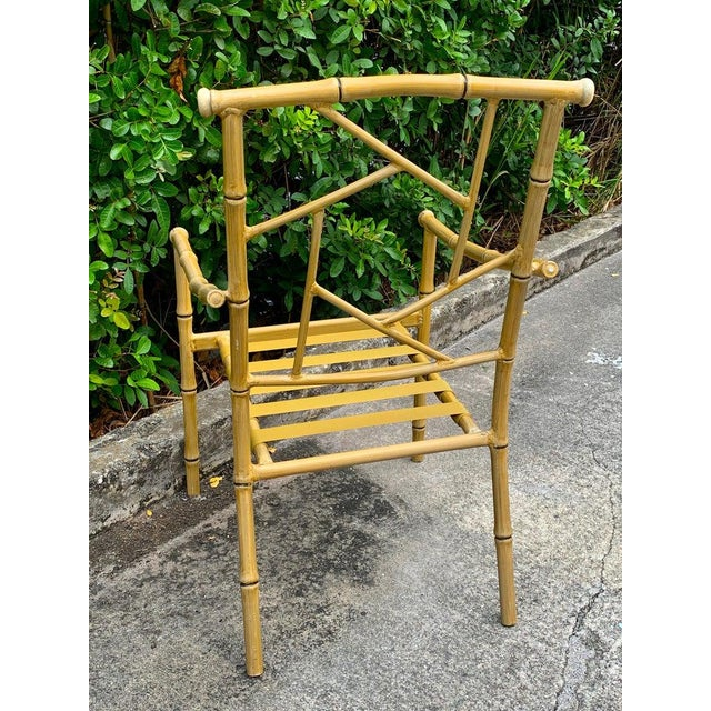 Set of Six Hollywood Regency Faux Bamboo Garden Chairs For Sale - Image 4 of 10