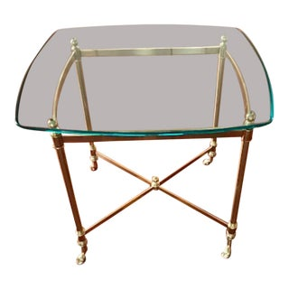 Hollywood Regency Style Brass & Glass End Table